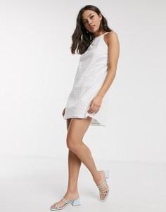 Белое летнее платье мини с вышивкой ришелье ASOS DESIGN-Белый