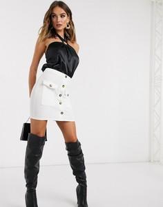 Белая облегающая юбка с карманами Missguided-Белый