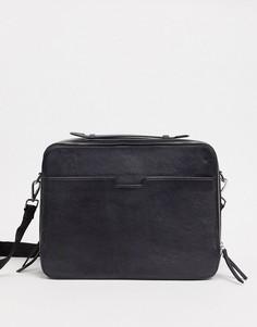 Черная кожаная сумка сэтчел на молнии ASOS DESIGN-Черный