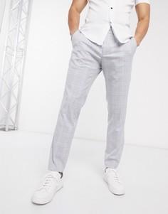 Узкие брюки в клетку синего/серого цвета Esprit-Серый