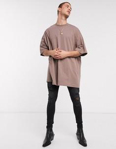 Бежевая длинная футболка в стиле oversized от ASOS DESIGN-Коричневый