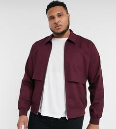 Бордовая куртка Харрингтон с отлетной кокеткой ASOS DESIGN Plus-Красный