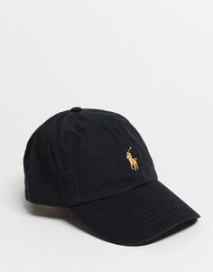 Черная бейсболка с золотистым логотипом Polo Ralph Lauren-Черный