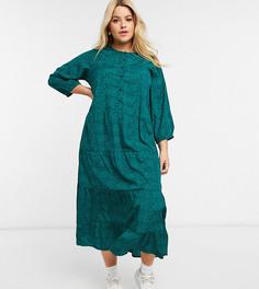 Платье-рубашка макси с ярусной юбкой и анималистичным принтом Wednesdays Girl Curve-Зеленый