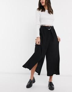 Черные широкие укороченные брюки с разрезами Bershka-Черный
