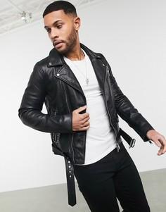 Кожаная байкерская куртка с отделкой заклепками Bolongaro Trevor-Черный
