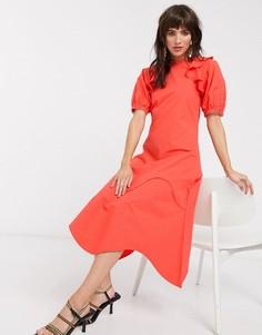 Хлопковое платье мидакси с оборками на плечах Lost Ink-Красный