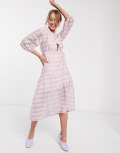 Платье миди в клетку с заниженной талией Lost Ink-Розовый