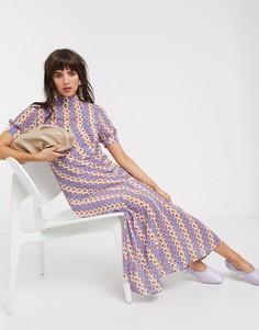 Платье миди с цветочным принтом в полоску Lost Ink-Фиолетовый