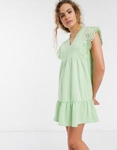 Свободное платье мини с вышивкой ришелье Lost Ink-Зеленый