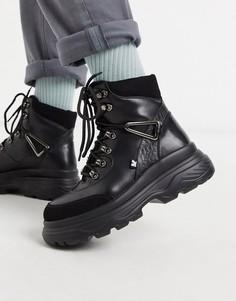 Черные походные ботинки из искусственной кожи на массивной подошве Koi Footwear-Черный