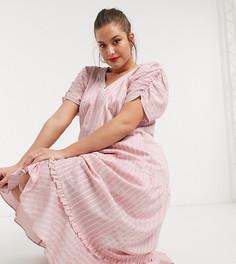 Свободное платье макси в полоску с ярусной юбкой Lost Ink plus-Розовый