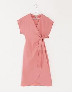 Льняное платье миди с запахом ASOS DESIGN-Розовый