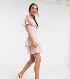 Розовое кружевное платье мини Little Mistress Petite-Розовый