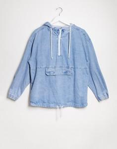 Синяя джинсовая куртка с капюшоном Bershka-Синий