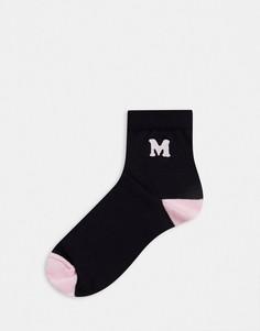 """Черные носки с розовым инициалом """"M"""" ASOS DESIGN-Черный"""