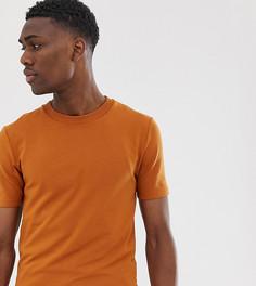 Плотная обтягивающая футболка рыже-коричневого цвета с короткими рукавами ASOS DESIGN Tall-Коричневый