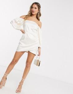 Белое платье мини с запахом и пышными рукавами Saint Genies-Белый