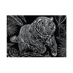 Гравюра Рыжий кот Тигр на охоте, в пакете с ручкой (Г-9418) золотистая основа