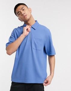 Синяя футболка с короткой молнией Weekday-Синий