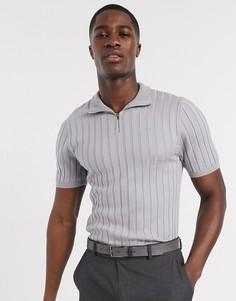 Серая обтягивающая футболка в рубчик с короткой молнией ASOS DESIGN-Серый