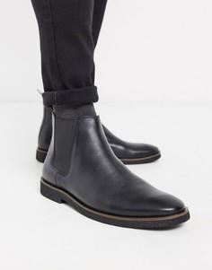 Черные кожаные ботинки челси Walk London-Черный