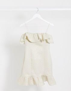 Золотистое платье мини с оборками Rare London-Золотой