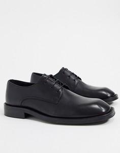 Черные кожаные туфли на шнуровке с квадратным носком ASOS DESIGN-Черный