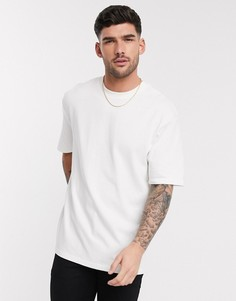 Светло-бежевая футболка в стиле oversized из плотного органического хлопка Selected Homme-Светло-бежевый