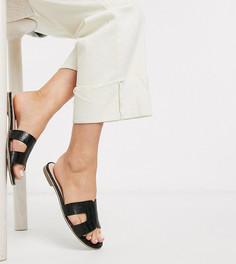 Черные сандалии для широкой стопы с эффектом крокодиловой кожи Dune-Черный