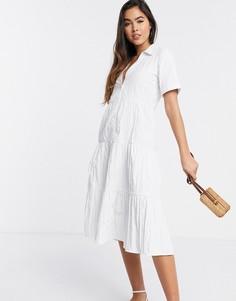 Белое поплиновое платье миди на пуговицах Stradivarius-Белый