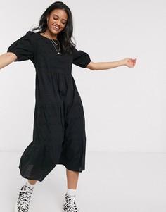 Черное свободное платье миди с вышивкой ришелье New Look-Черный