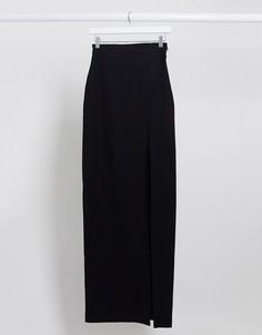 Черная юбка макси от комплекта с разрезом до бедра Vesper-Черный