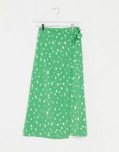 Зеленая юбка миди в горошек с запахом Monki-Зеленый