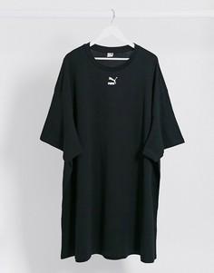 Черное платье-футболка с логотипом Puma-Черный