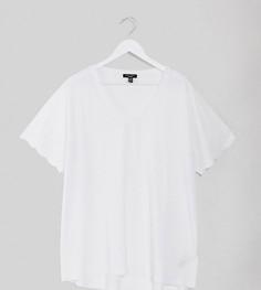 Белая футболка с вышивкой ришелье на рукавах New Look Curve-Белый