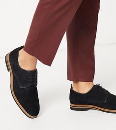 Черные замшевые туфли для широкой стопы, со шнуровкой и контрастной подошвой ASOS DESIGN-Черный
