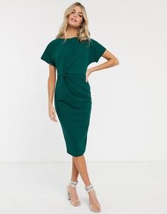 Зеленое плиссированное платье миди с декоративным узлом Lipsy-Зеленый