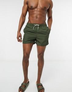 Однотонные шорты для плавания цвета хаки Selected Homme-Зеленый