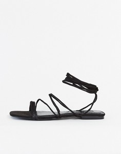Черные сандалии с ремешками Miss Selfridge-Черный