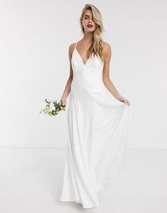 Атласное свадебное платье с глубоким вырезом ASOS EDITION-Белый