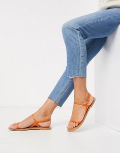 Оранжевые кожаные сандалии ASOS DESIGN-Розовый