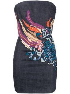 Dsquared2 джинсовое платье мини с цветочным принтом
