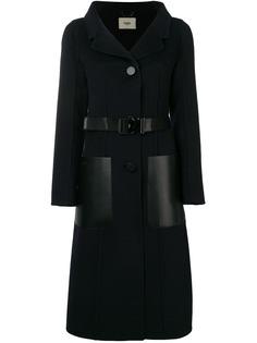 Fendi однобортное пальто с поясом