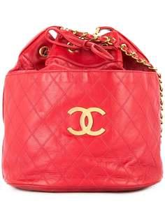Chanel Pre-Owned стеганая сумка на плечо с застежкой на шнурке