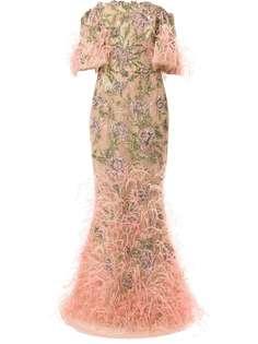 Marchesa декорированное вечернее платье из тюля