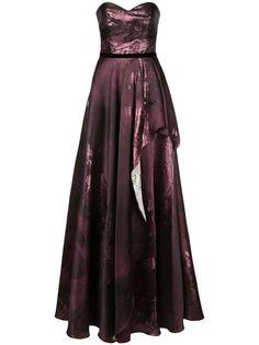 Marchesa Notte вечернее платье с эффектом металлик и драпировкой