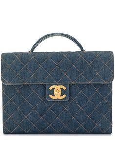 Chanel Pre-Owned портфель 1997-го года с декоративной строчкой