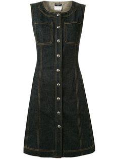 Chanel Pre-Owned джинсовое платье 1997-го года с декоративной строчкой