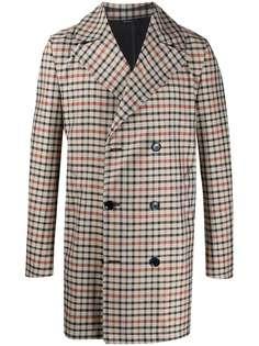Grey Daniele Alessandrini двубортное пальто в клетку